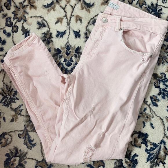 Zara pink distressed jeans